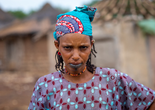 Portrait of a Peul tribe woman with tattooed lips, Savanes district, Boundiali, Ivory Coast