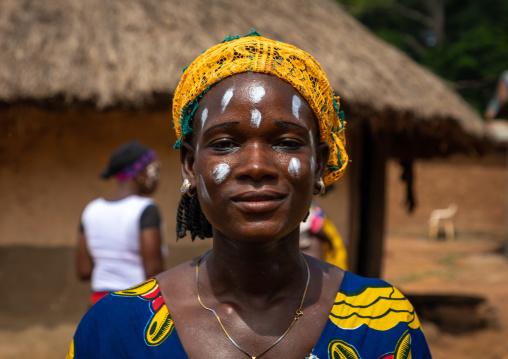 Dan tribe woman celebrating the yam harvest in a village, Bafing, Godoufouma, Ivory Coast