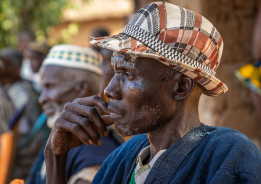 Senior Dan tribe chiefs during a ceremony, Bafing, Gboni, Ivory Coast