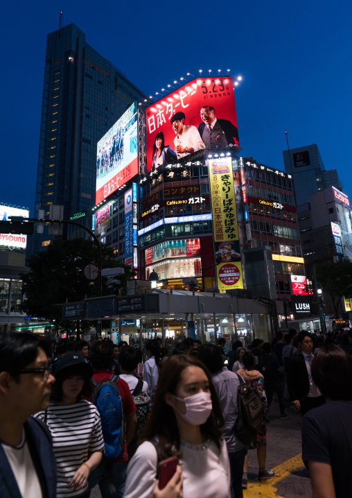 Shibuya crossing at night, Kanto region, Tokyo, Japan