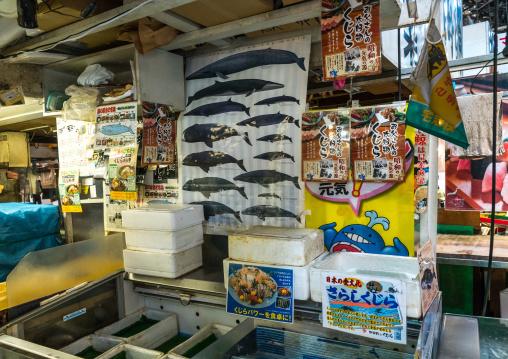 Whale shop at tsukiji fish market, Kanto region, Tokyo, Japan