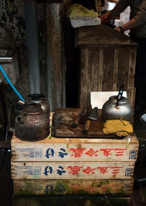 Teapots in tsukiji fish market, Kanto region, Tokyo, Japan