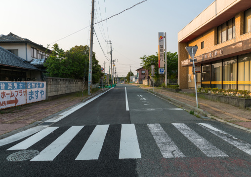 Deserted street in the difficult-to-return zone after the daiichi nuclear power plant irradiation, Fukushima prefecture, Tomioka, Japan