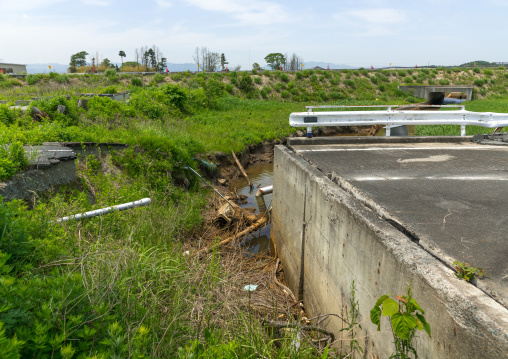 A collapsed road by the 2011 earthquake and tsunami, Fukushima prefecture, Futaba, Japan