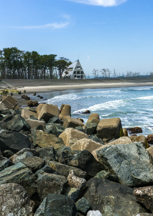 Highly contaminated beach after the daiichi nuclear power plant irradiation and the tsunami, Fukushima prefecture, Futaba, Japan