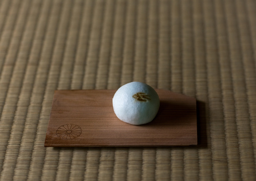 Ohagi rice dumplings coated with sweet bean paste during a tea ceremony in daitoku-ji, Kansai region, Kyoto, Japan