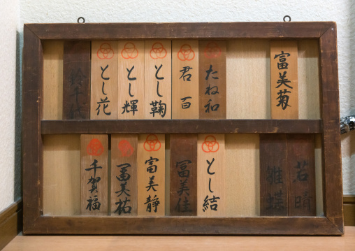Board with the names of the maikos and geishas living in the house, Kansai region, Kyoto, Japan