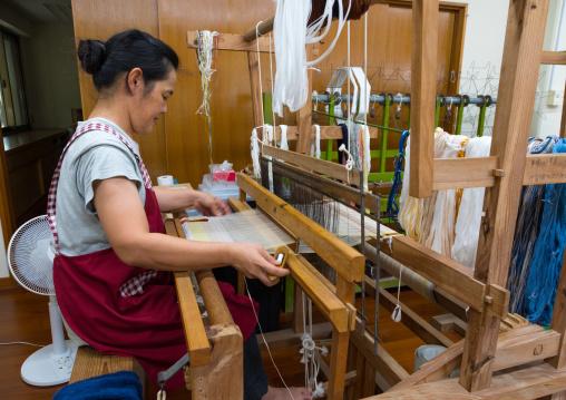 Weaving workshop, Yaeyama Islands, Taketomi island, Japan