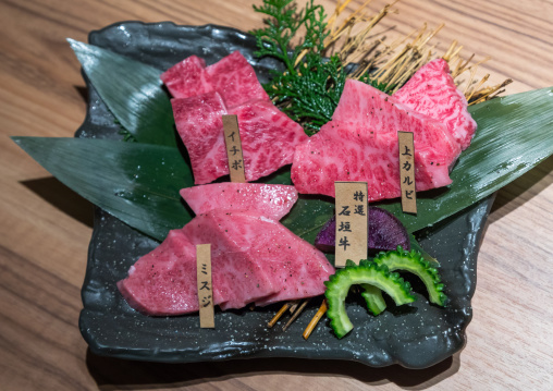 Slices of raw Ishigaki beef meat, Yaeyama Islands, Ishigaki, Japan