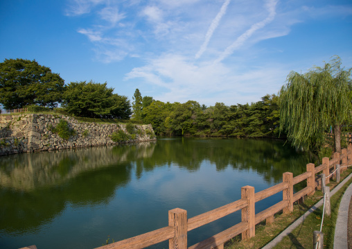 The moats in front of the famous Himeji castle used by shoguns and samurais, Hypgo Prefecture, Himeji, Japan