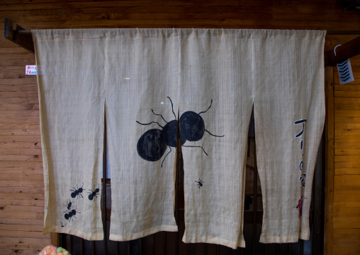 Ant on a japanese restaurant curtain in Tsuruhashi Korea town, Kansai region, Osaka, Japan