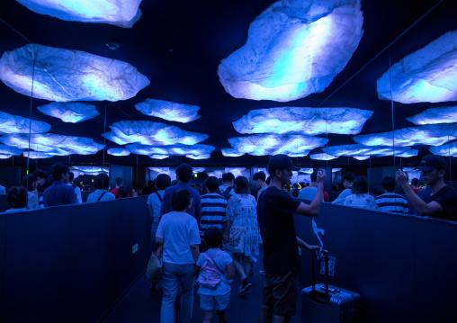 People visiting the arctic area in Kaiyukan aquarium, Kansai region, Osaka, Japan