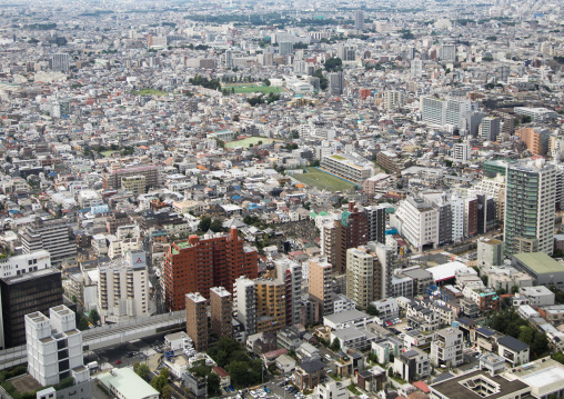 Aerial view of the town, Kanto region, Tokyo, Japan