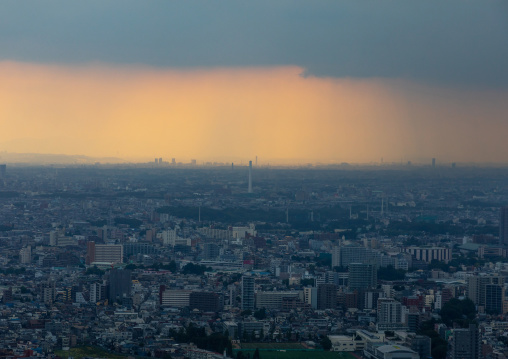 Stormy clouds over the town, Kanto region, Tokyo, Japan