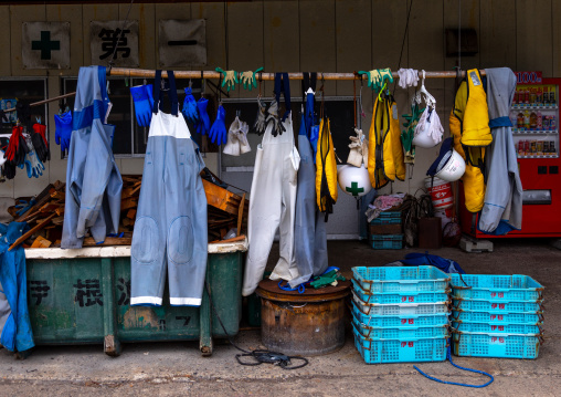 Wet fishermen clothes hanging to dry, Kyoto prefecture, Ine, Japan