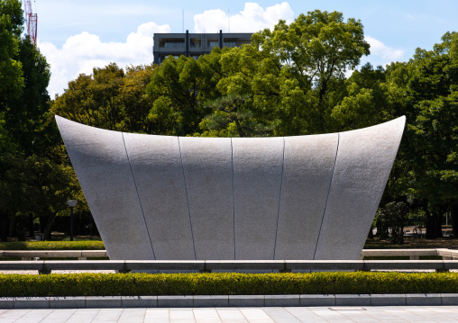 Cenotaph for a-bomb victims and a-bomb dome, Chugoku region, Hiroshima, Japan