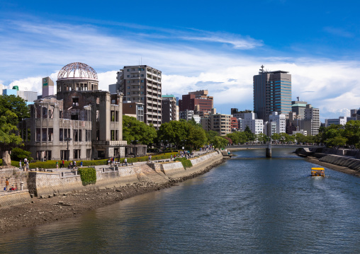 Ota river in front of the Genbaku dome in Hiroshima peace memorial park, Chugoku region, Hiroshima, Japan