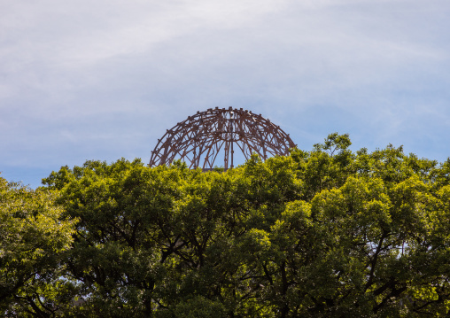 The Genbaku dome also known as the atomic bomb dome in Hiroshima peace memorial park, Chugoku region, Hiroshima, Japan
