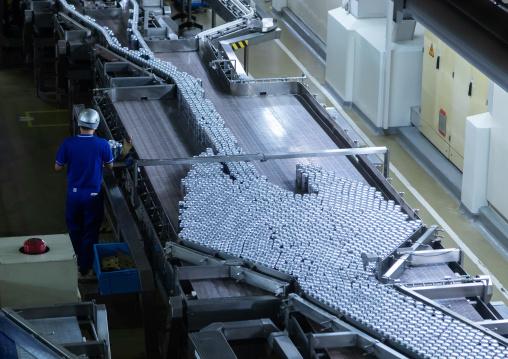 Production of Asahi beer inside Asahi breweries, Kyushu region, Fukukoa, Japan