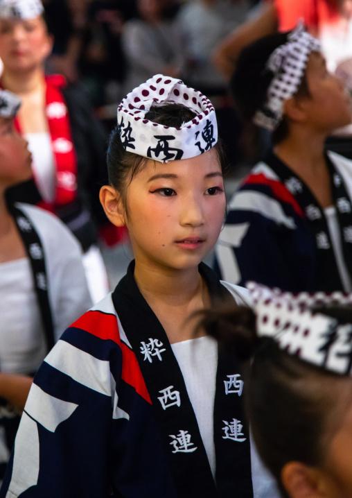 Japanese children during the Koenji Awaodori dance summer street festival, Kanto region, Tokyo, Japan