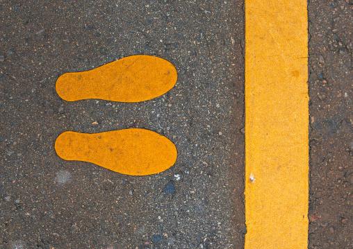 Pedestrian stop sign on a road, Ishikawa Prefecture, Kanazawa, Japan