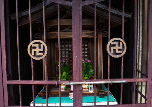 Shrine with swastika crosses, Kansai region, Kyoto, Japan