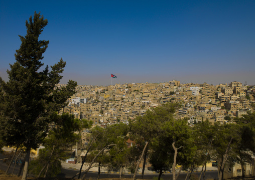 View From Citadel Over City Of Amman, Showing Raghadan Flagpole, Jordan