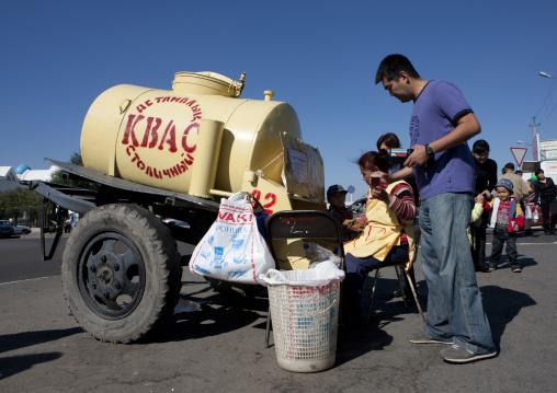 Mack Buying Some Kvass Drink In Astana, Kazakhstan
