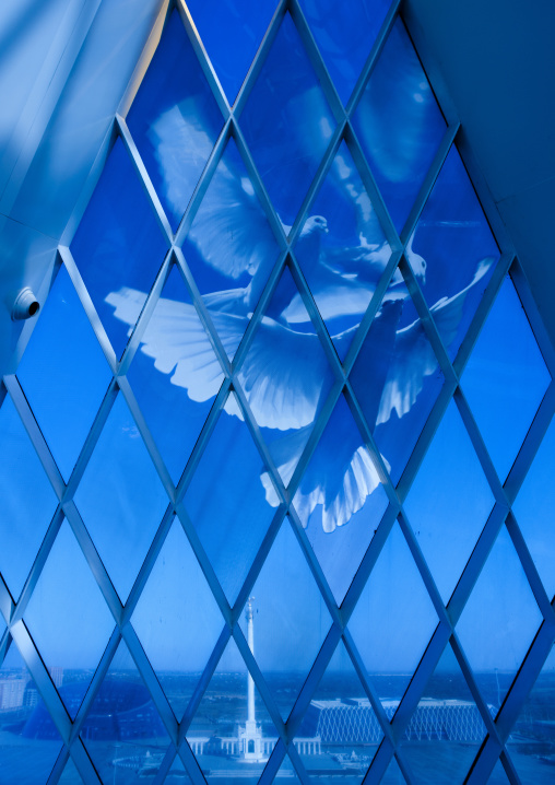 Doves At The Palace Of Peace And Reconciliation In Astana, Kazakhstan