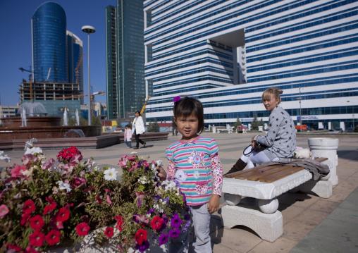 Little Girl And Flowers, Astana, Kazakhstan