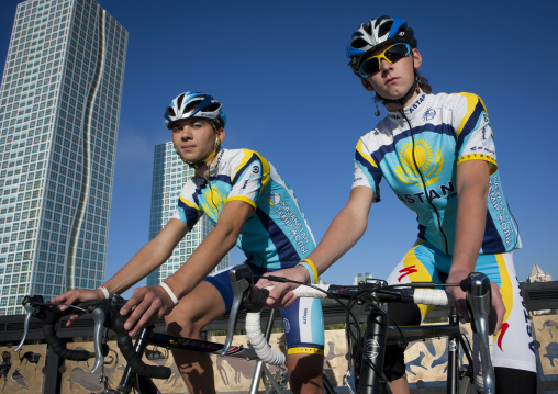Cyclists With Astana Cycling Suits, Kazakhstan
