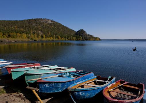 Small Boats On The Shore, Burabay Lake, Kazakhstan