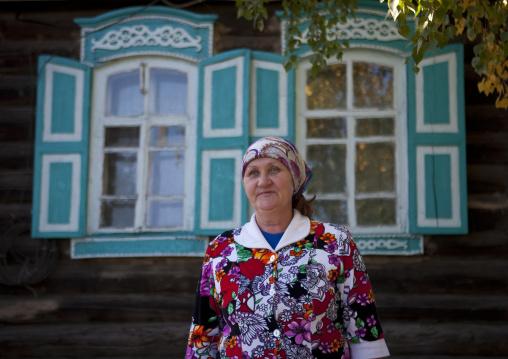 Miss Zulfia, Tatar Nationality, In Front Of Her 1917 House, Burabay, Kazakhstan