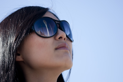Ethnic Kazakh Girl With Sunglasses In Astana, Kazakhstan