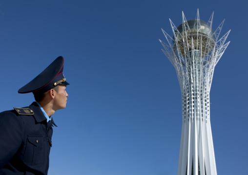 Moussa An Army Cadet Looking At Baiterek Tower, Astana, Kazakhstan