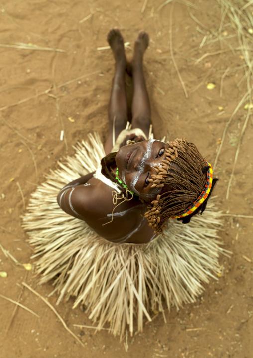 Portrait of a Tharaka tribe woman with a vegetal skirt, Laikipia County, Mount Kenya, Kenya