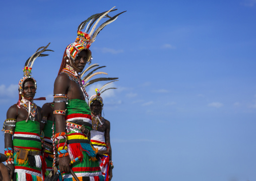 Portrait of rendille warriors wearing traditional headwears, Turkana lake, Loiyangalani, Kenya