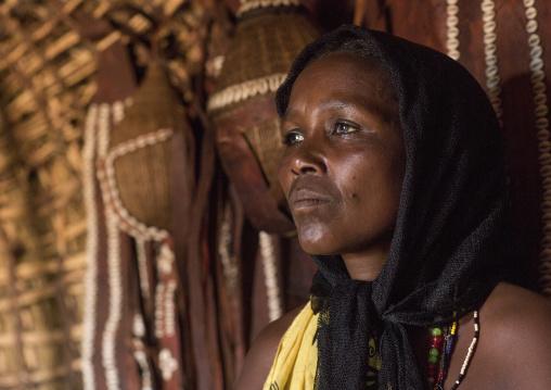 Borana tribe woman inside a hut, Marsabit district, Marsabit, Kenya