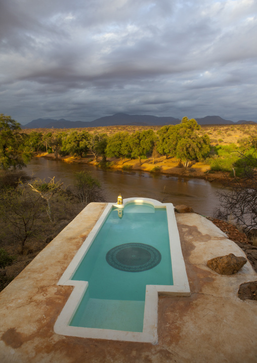 Private pool in the luxurious sasaab lodge on the banks of the uaso nyiru river, Samburu county, Samburu national reserve, Kenya