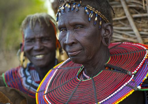 Pokot women wear large necklaces made from the stems of sedge grass, Baringo county, Baringo, Kenya