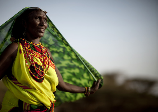 Portrait of a Gabra tribe woman with a veil, Marsabit County, Chalbi Desert, Kenya