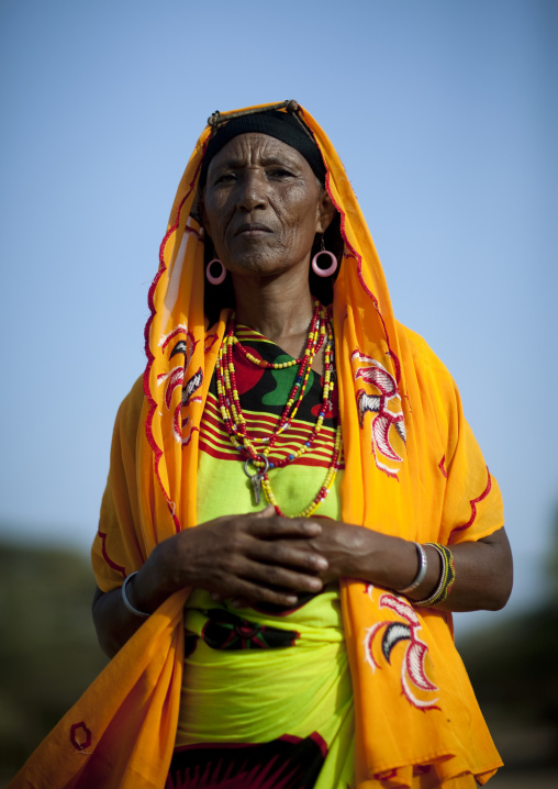 Portrait of a Gabra tribe woman with colorful veil, Marsabit County, Chalbi Desert, Kenya