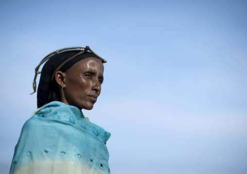 Portrait of a Gabra tribe woman wearing the traditional headwear, Marsabit County, Chalbi Desert, Kenya