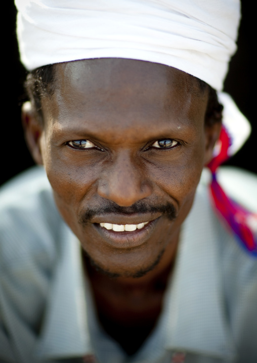 Portrait of a Gabra tribe man with a turban, Marsabit County, Chalbi Desert, Kenya