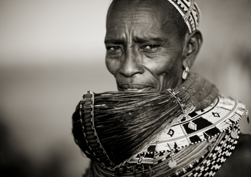 Rendille tribeswoman wearing traditional headdress and mpooro engorio necklace, Marsabit district, Ngurunit, Kenya