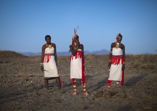 Portrait of rendille warriors wearing traditional headwears, Marsabit district, Ngurunit, Kenya
