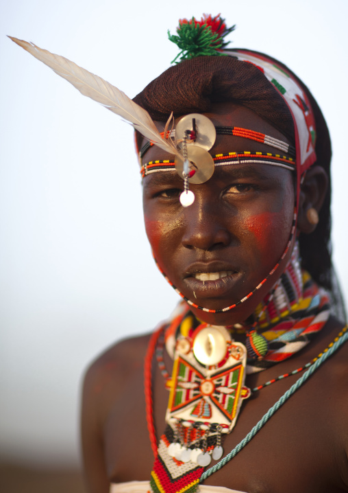 Portrait of rendille warrior wearing traditional headwear, Marsabit district, Ngurunit, Kenya