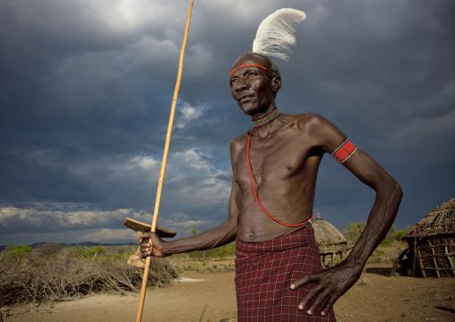 Portrait of a Pokot tribe man, Baringo County, Baringo, Kenya