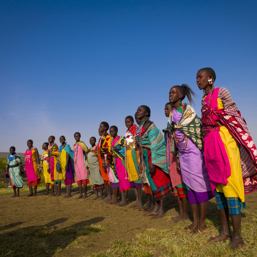 Maasai tribeswomen in traditional maasai clothing, Nakuru county, Nakuru, Kenya