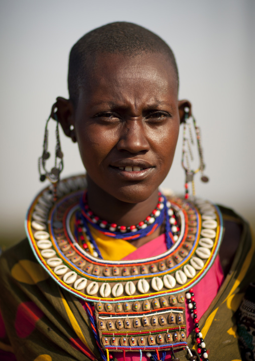 Maasai tribeswoman in traditional maasai clothing, Nakuru county, Nakuru, Kenya